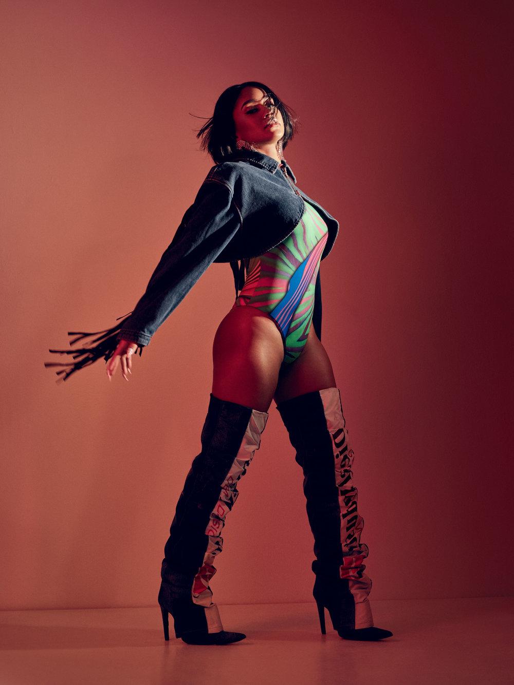 DIESEL     jacket and boots,   ADRIANA IGLESIAS     bodysuit, stylist's own earrings