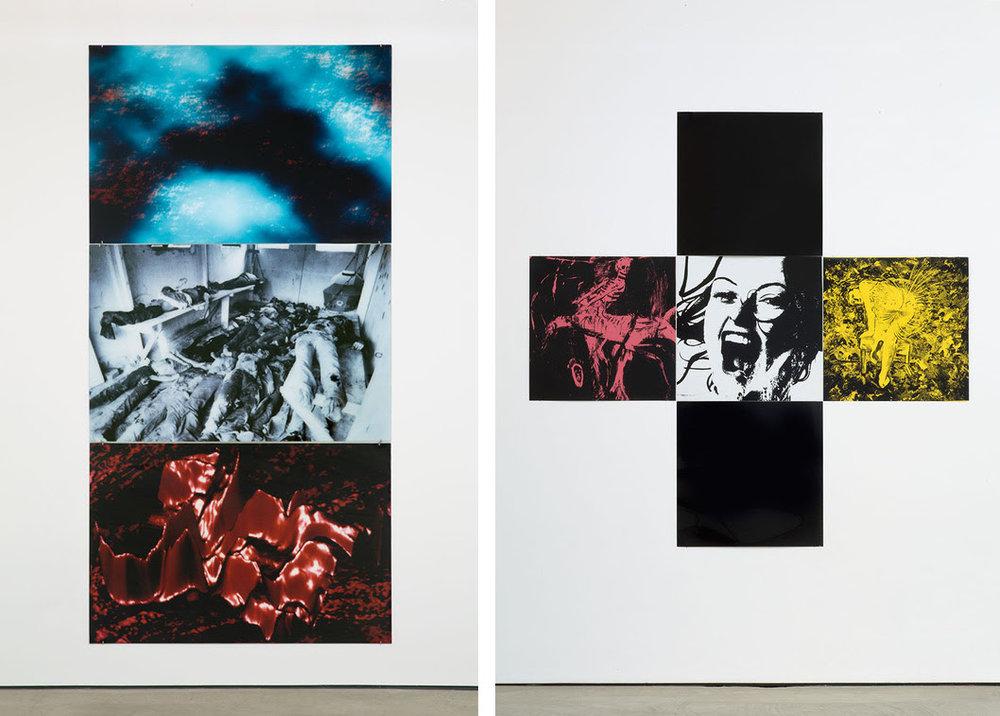 Left:  Gretchen Bender,  Untitled (Landscape, Computer Graphics, Death Squad) , 1987.  Right:  Gretchen Bender,  Untitled (The Pleasure is Back) , 1982. Images courtesy of the Gretchen Bender Estate and OSMOS.