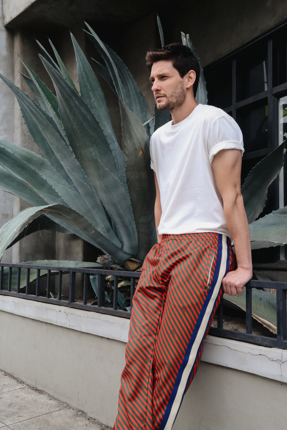 GUCCI   pants and stylist's own t-shirt.