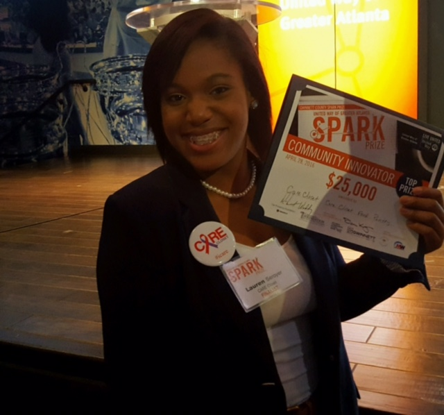 May 24, 2016: Atlanta Journal Constitution -  Lauren Seroyer, a 16-year-old Peachtree Ridge High School student, received the Spark Prize from the United Way to expand the CARE Closet, a fully stocked food pantry, to every high school in Gwinnett.