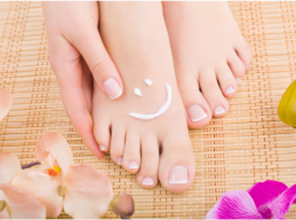 Apply blending cream to hands and feet.