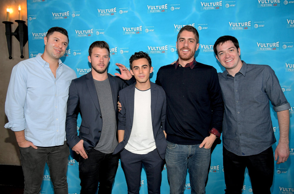 HOLLYWOOD, CA - NOVEMBER 19: (L-R) Dan Lagana, Jimmy Tatro, Tyler Alvaraz, Tony Yacenda and Dan Perrault attend the 'American Vandal' panel during Vulture Festival LA presented by AT&T at Hollywood Roosevelt Hotel on November 19, 2017 in Hollywood, California. (Photo by Charley Gallay/Getty Images for Vulture Festival)