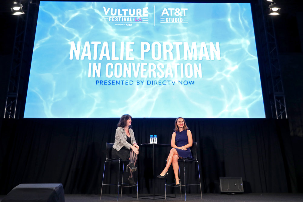 HOLLYWOOD, CA - NOVEMBER 19: Actor Natalie Portman (R) and journalist Jada Yuan speak onstage during Vulture Festival LA presented by AT&T at Hollywood Roosevelt Hotel on November 19, 2017 in Hollywood, California. (Photo by Joe Scarnici/Getty Images for Vulture Festival)