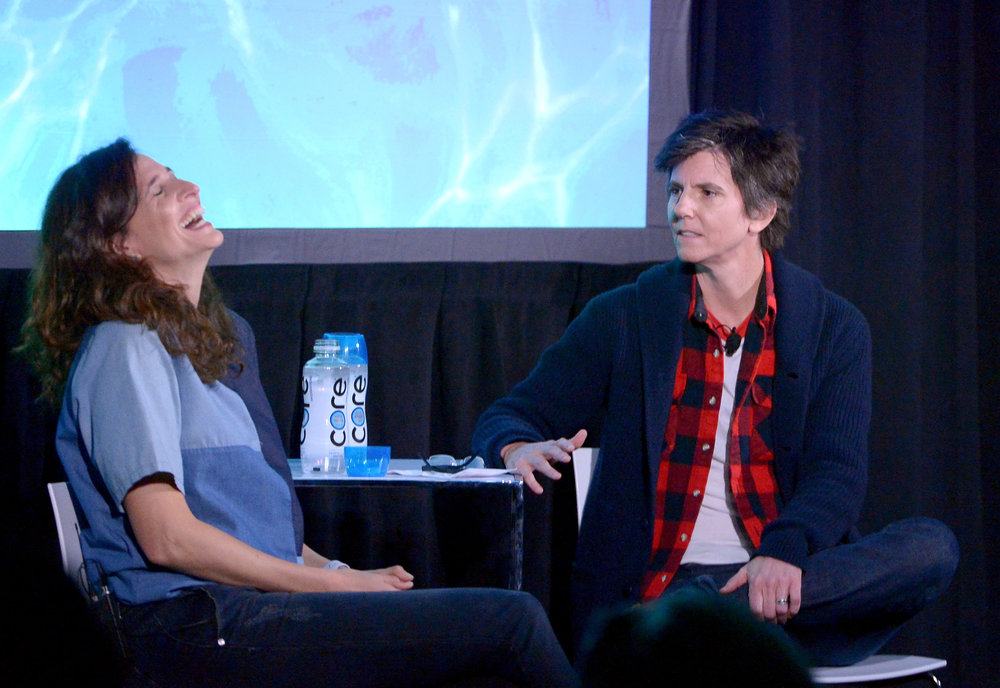HOLLYWOOD, CA - NOVEMBER 19: Comedians Michaela Watkins (L) and Tig Notaro speak onstage during the 'Turning Point' event, part of Vulture Festival LA presented by AT&T at Hollywood Roosevelt Hotel on November 19, 2017 in Hollywood, California. (Photo by Charley Gallay/Getty Images for Vulture Festival)
