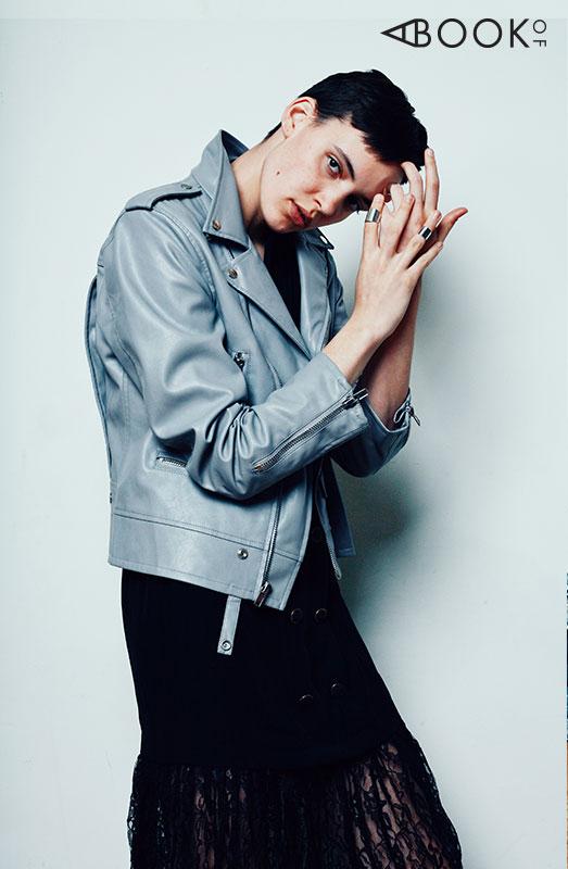 Grey Leather Jacket - Embellish NYC  Black Lace Dress - Tadashi  Rings - Joia