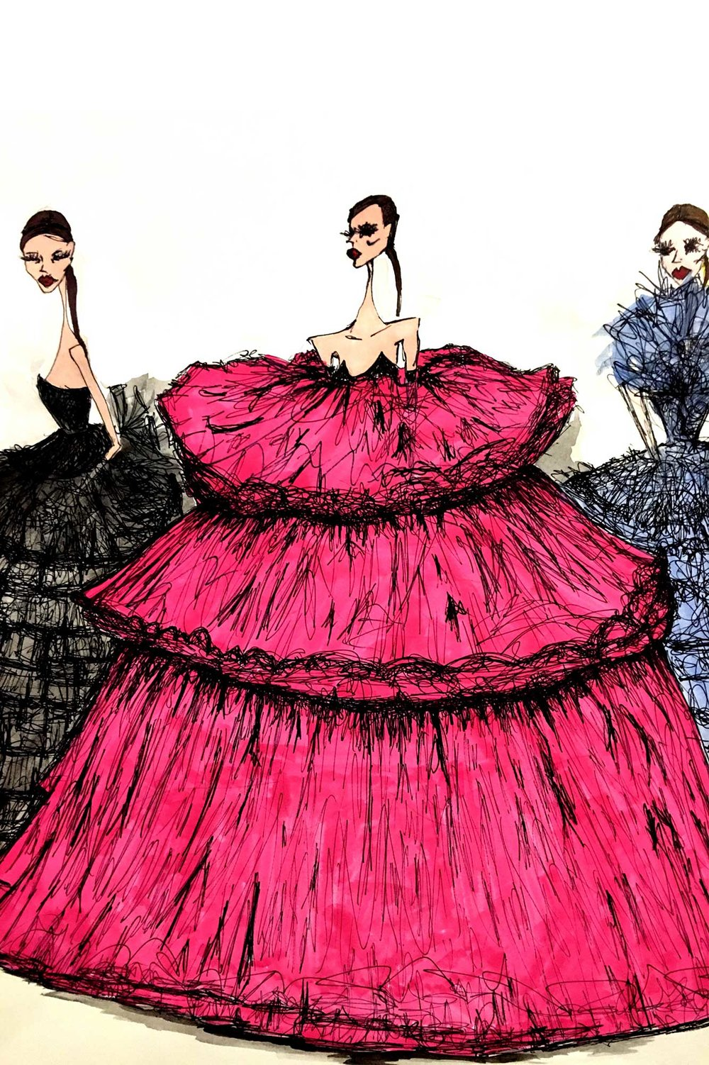 Illustrator: Julie McGrath  Wardrobe Credits: Giambattista Valli Line Up