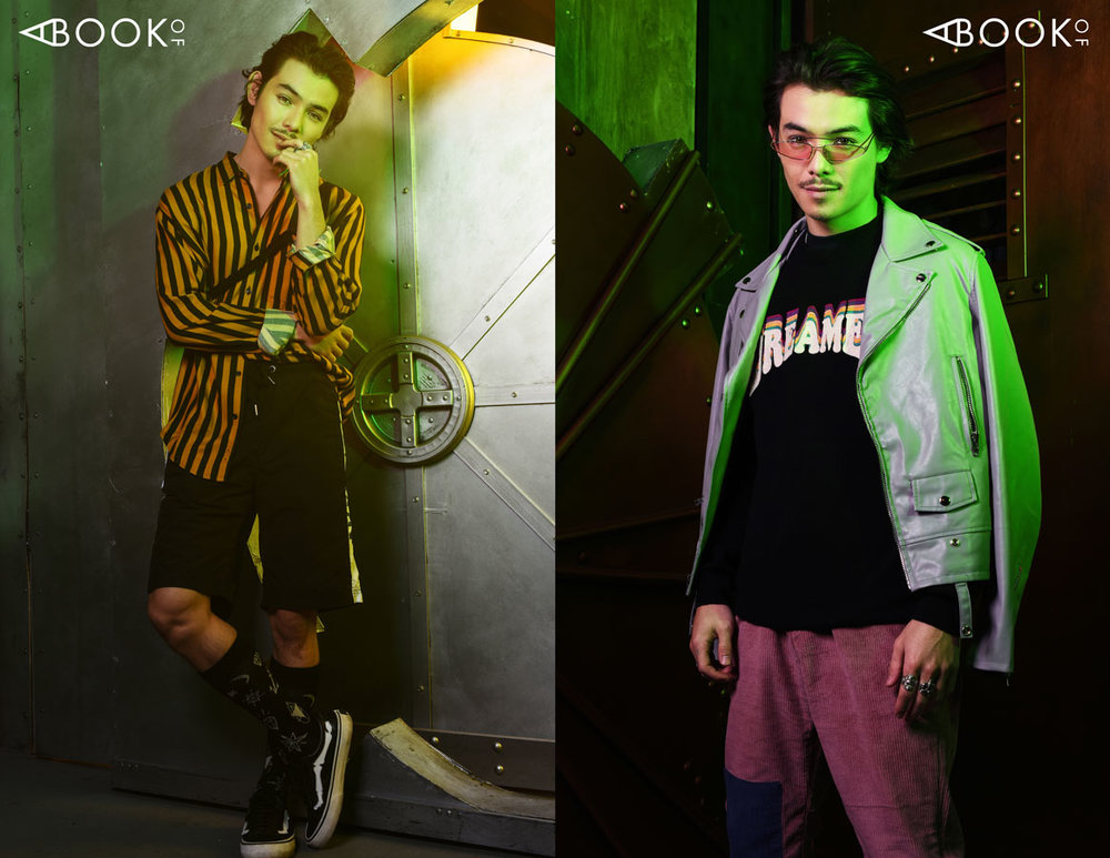 Left: Harness - Mong Q, Shorts - Boy London Right: Jacket - Embellish, Pants - Kid Super, Glasses - zeroUV