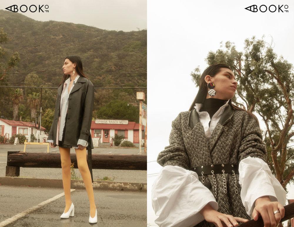 (Left) Shirt: Vintage from La Loupe, Shirt: Vintage, Skirt: BB Dakota, Jacket: Vintage, Shoes: Topshop, Earrings: Georgina Trevino