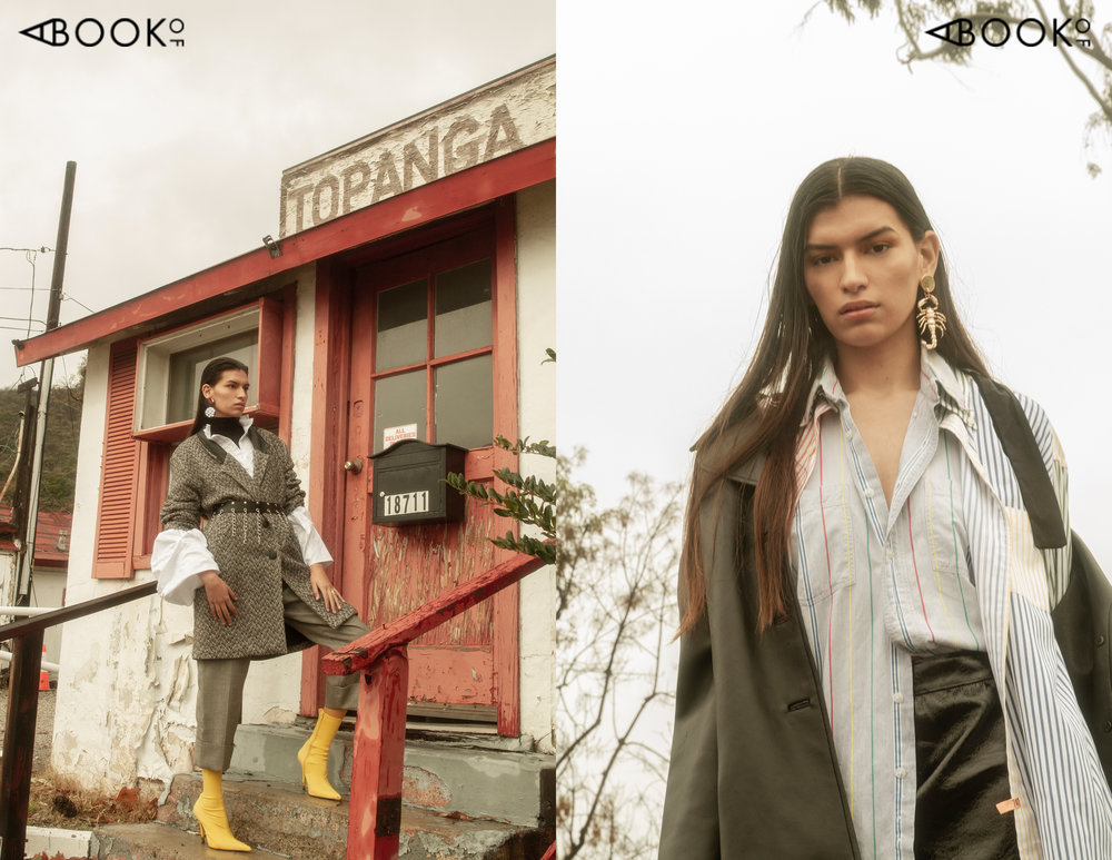 (Left) Turtleneck: Vintage, Top: TOV Los Angeles, Coat: Vintage, Belt: Hot Topic, Boots: Jeffery Campbell , Earrings: Georgina Trevino