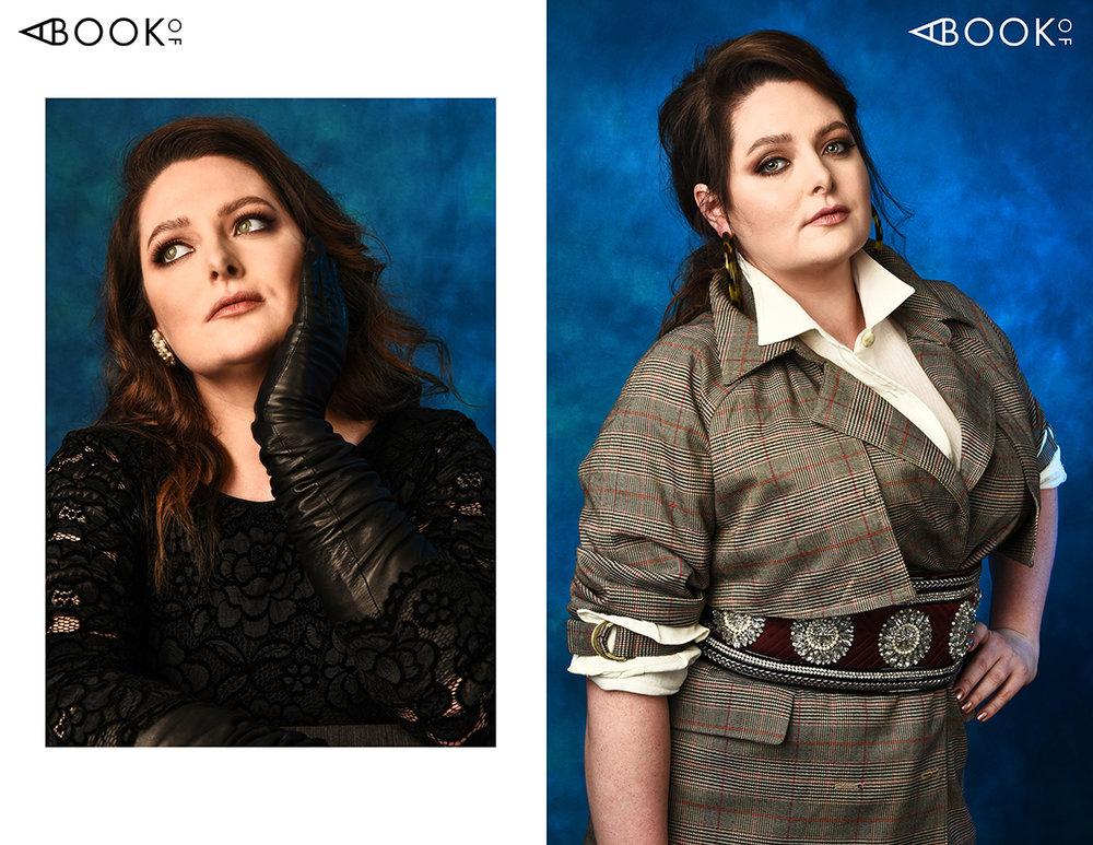 LEFT:  Dress: Dolce & Gabanna, Gloves: Carolina Amato, Earrings: Stylist's own  RIGHT:  Shirt: Vince, Jacket: Chelsea 28, Belt: Amen, Earrings: Cult Gaia