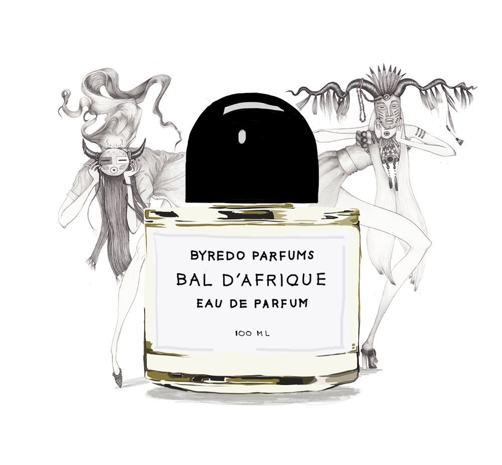 """work for a perfume brand """"byredo"""", """"bal d'afrique"""" fragrance. Idea was to create characters and atmosphere which could assoсiate with the name of the fragrance 