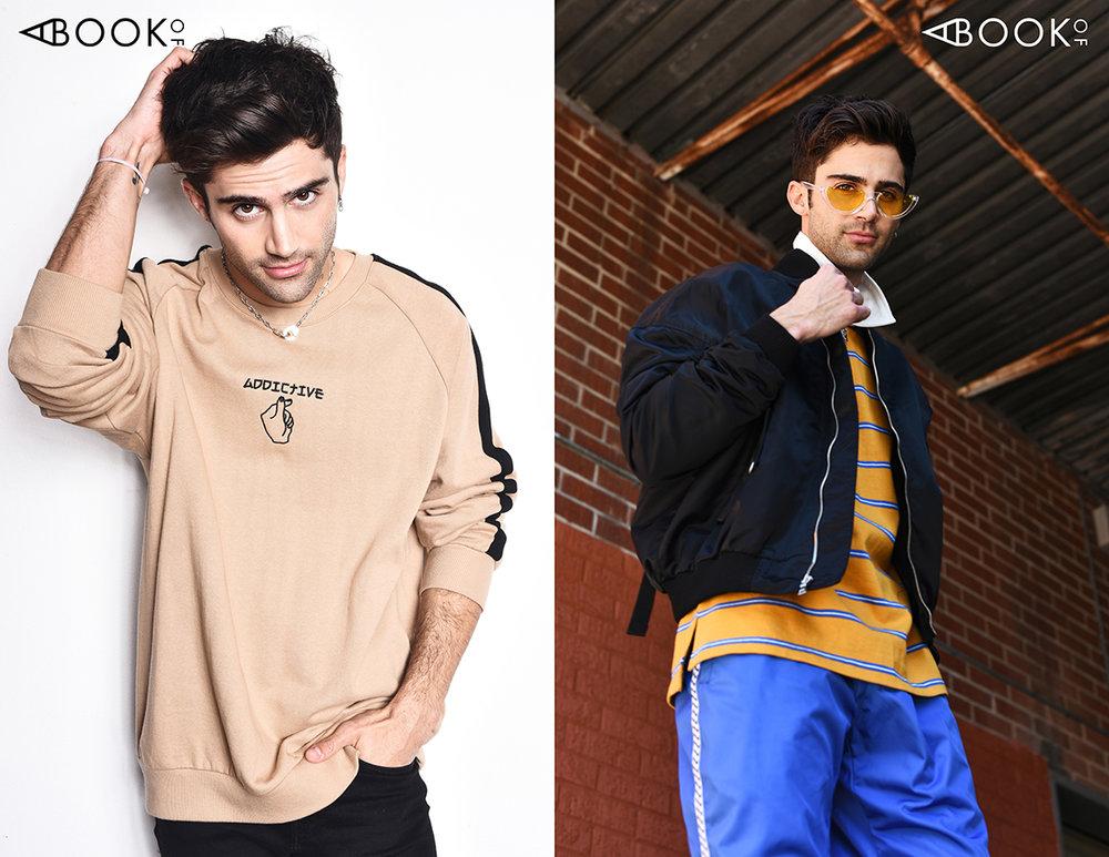 LEFT : Sweater: Conceptual, Sunglasses: zeroUV  RIGHT : Glasses: zeroUV, Jacket: Paraval, Shirt: Conceptual, Pants: Bob