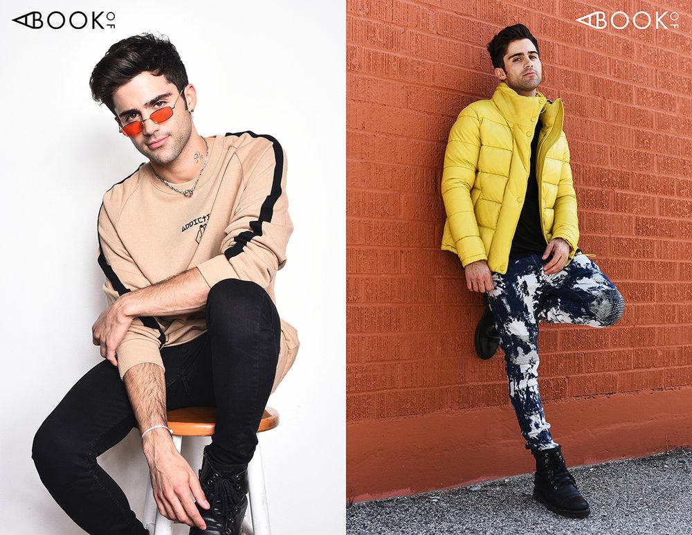 LEFT : Sweater: Conceptual, Sunglasses: zeroUV  RIGHT : Glasses: Publish X Gunnar, Shirt: Cadogan, Jacket: Ith Jkt, Pants: Soulstar,