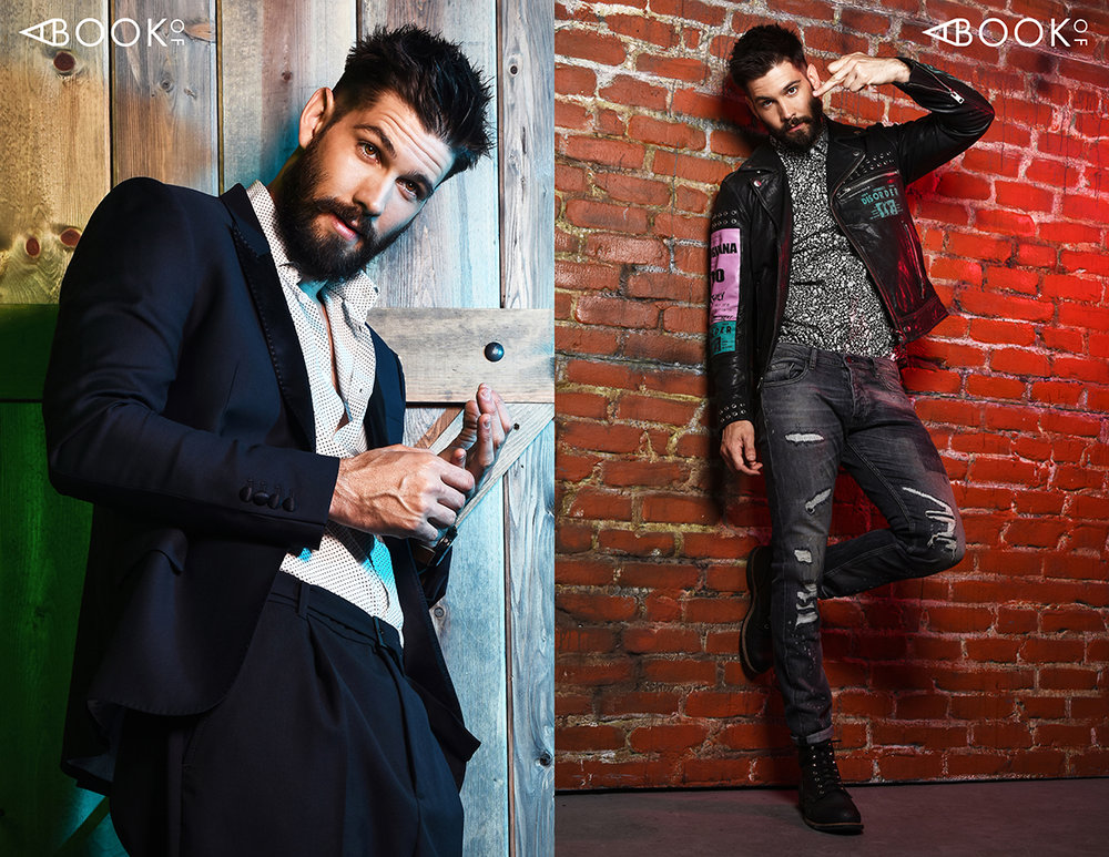 LEFT:  Outift: The Kooples, Watch: Momentum  RIGHT : Leather Jacket: Diesel, Shirt: Topman, Pants: The Kooples, Boots: RedWing