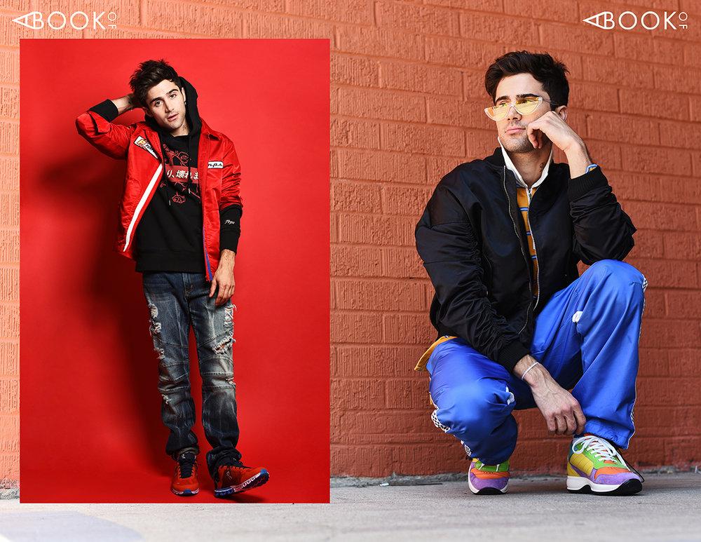LEFT : Jacket & hoodie: Prps, Pants: Rustic Dime, Shoes: On  RIGHT : Glasses: zeroUV, Jacket: Paraval, Shirt: Conceptual, Pants: Bob, Shoes: Charles & Ron