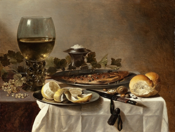 Fig 3 . Pieter Claesz,  Still Life with Herring, Wine and Bread , 17th Century