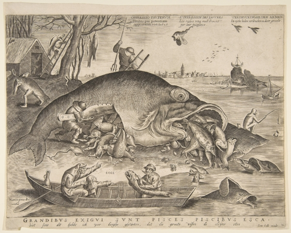 Fig 9 . Pieter van der Heyden, after Pieter Bruegel,  Big Fish Eat Little Fish , 1557