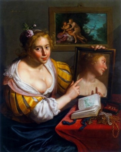 Fig. 7 Paulus Moreelse,  A Girl with a Mirror (Allegory of Profane Love)  1627