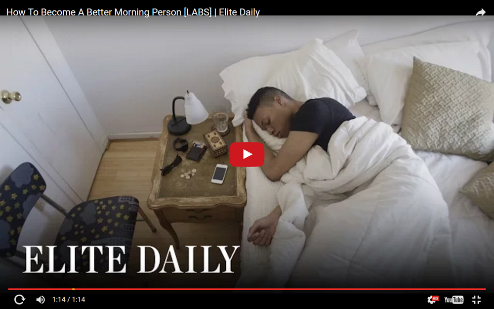 "ELITE DAILY starring Scott Camaran ""How to Become a Better Morning Person"" with 2.9 million viewers"