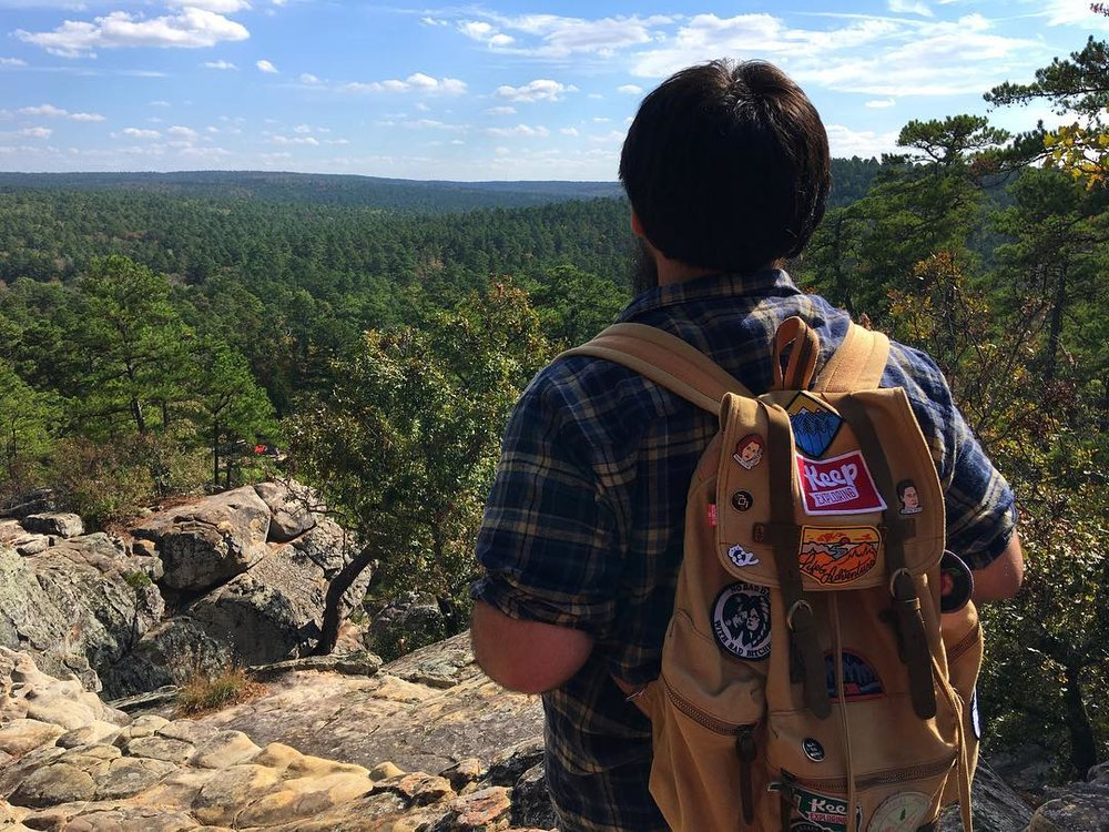 @calebino enjoying the beauty of Oklahoma at Robbers Cave State Park with a sweet, decked out pack!