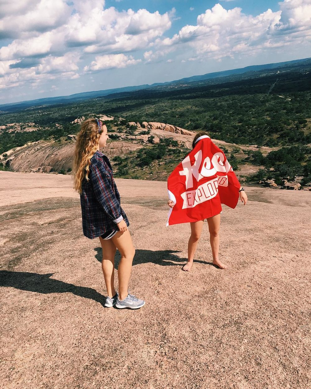 @hannah_marie61 and her friends climbed at Enchanted Rock (and had a blast at the top). Sometimes getting those flag shots are hard though!
