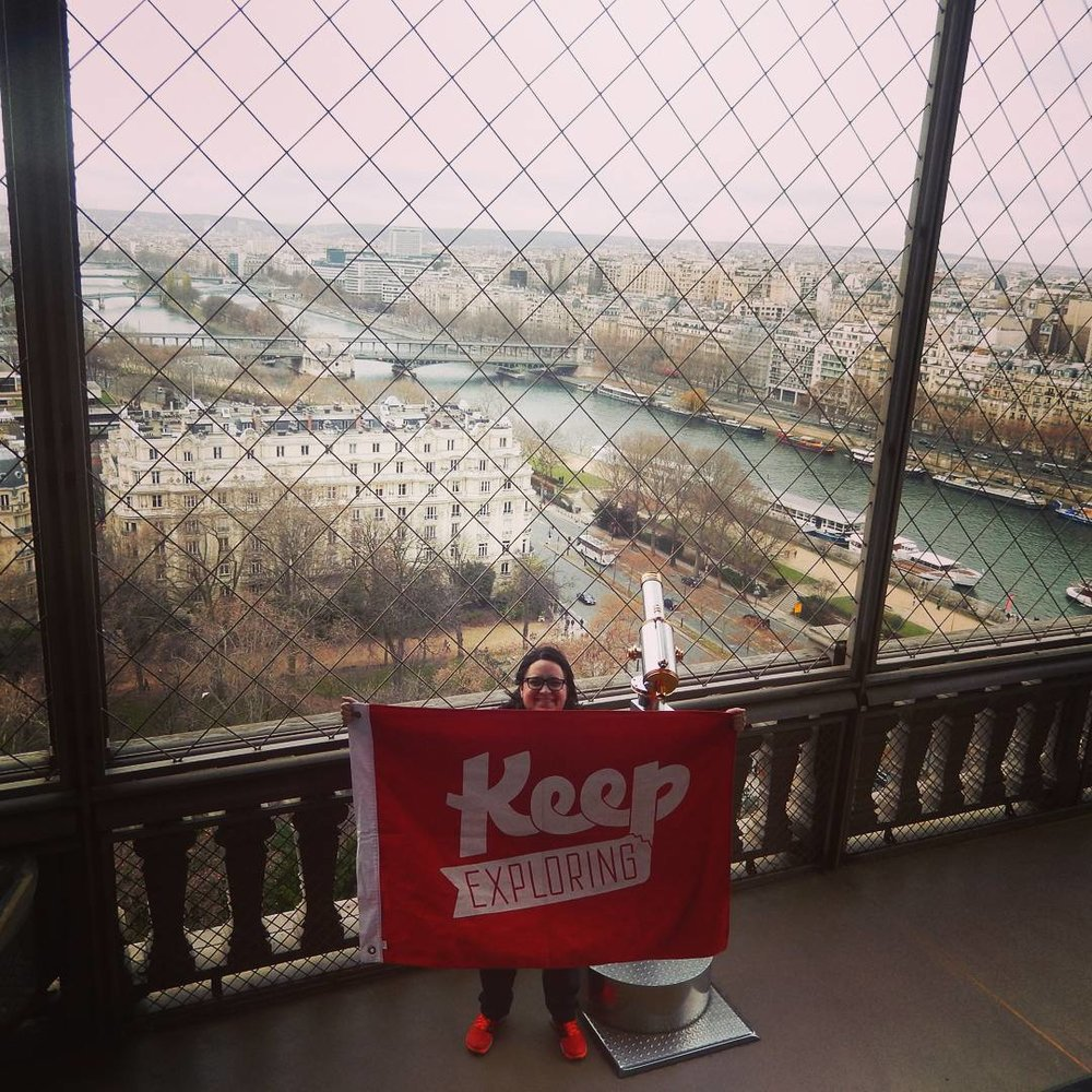 All the way from Australia, @punky_7 took the flag up the Eiffel Tower. That's a well traveled flag!