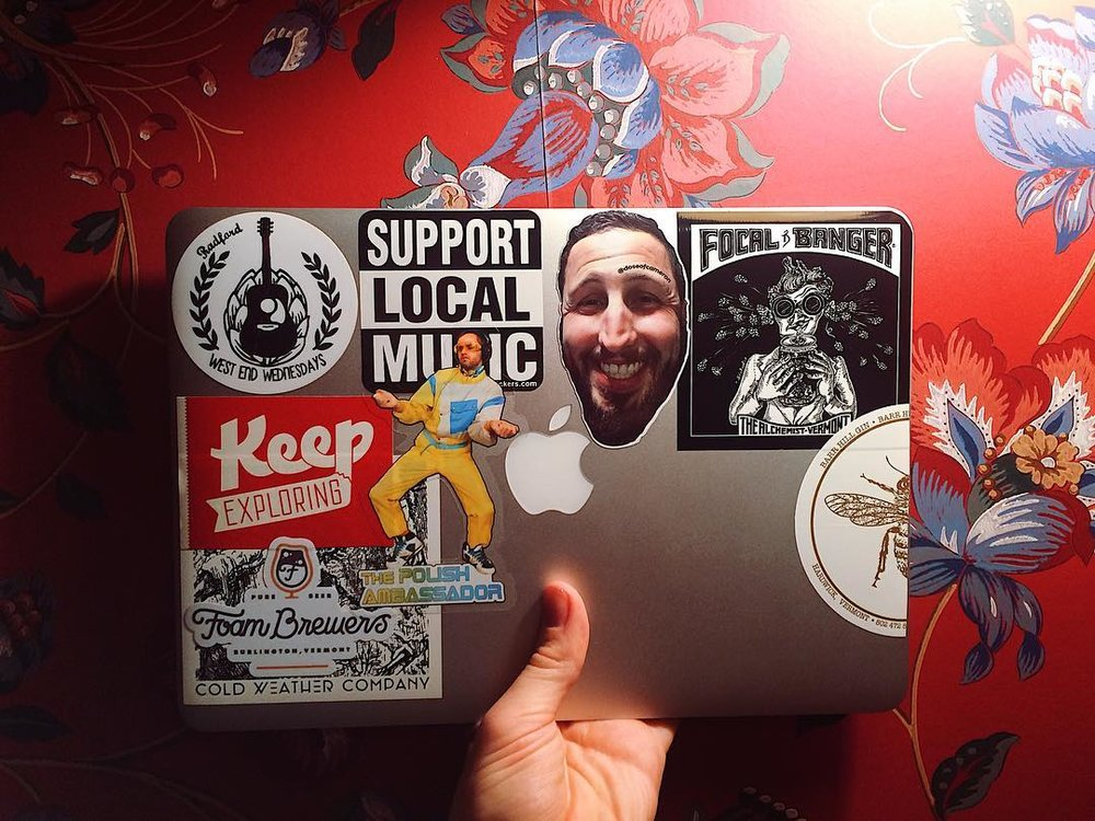 As @thetoothleswonder shows off, our stickers go great on laptops while you support your favorite bands