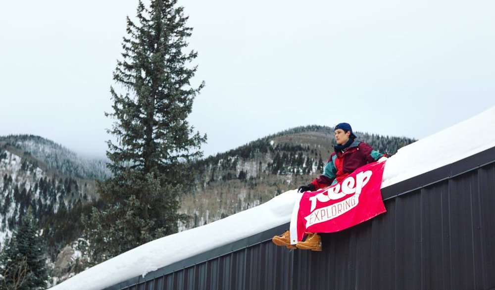 @imoutbound perched with his flag up on Taos Ski Valley