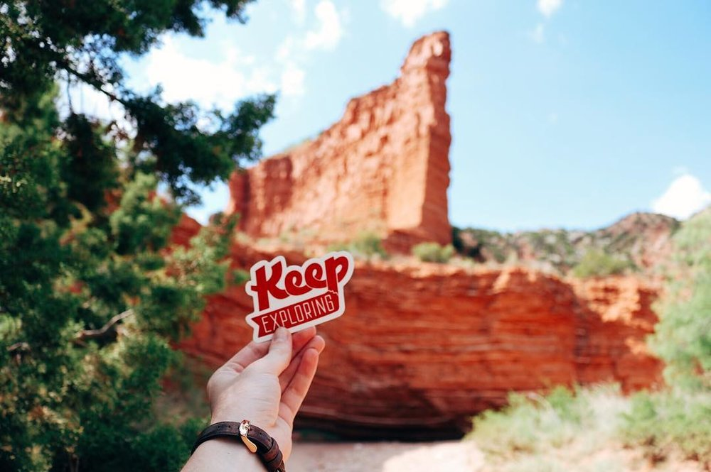 @lynley_kate shows off her KE sticker in the gorgeous Caprock Canyons State Park