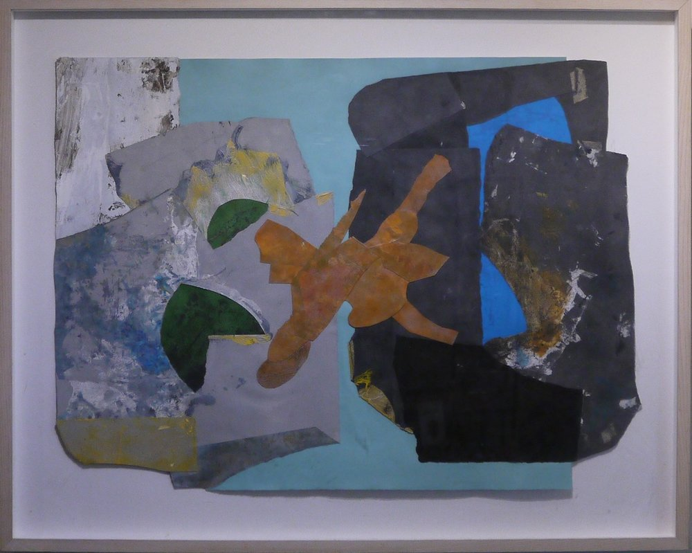 Alan Wood  -     Orange Ochre Surge,    2003  -   acrylic and paper collage, 36 x 44""