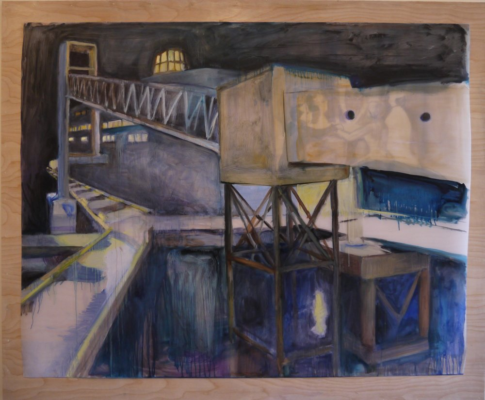 "Tsawwassen Terminal (New Baroque) , 2017; oil on Duralar; 42 x 54"""