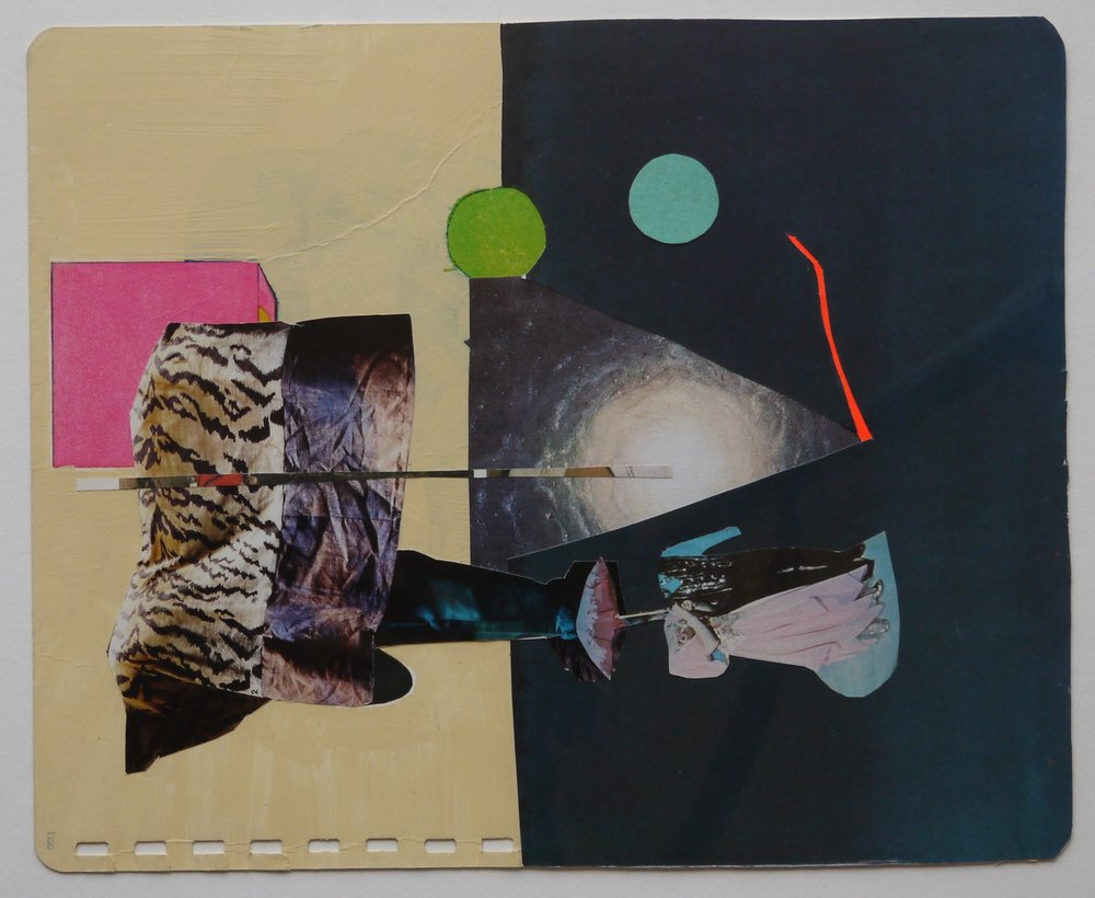 "Anna Wood Untitled Collage, 2016 print and paper mixed media 13 3/4""x 16 3/4"""