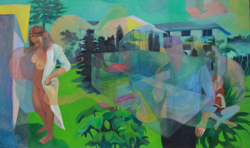Tennis Court, oil on panel, 48''x 84'', 2014