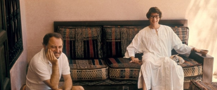 Yves Saint Laurent and Pierre Bergé, in their Marrakech home