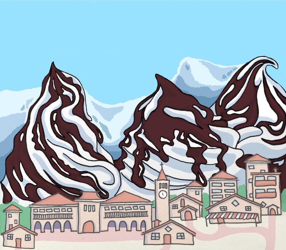 This is the one problem with living amidst all these omnipresent mountains... they constantly make me hungry for ice cream with all their stracciatella beauty.