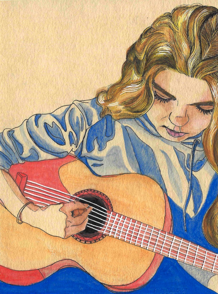 It was my BE-A-UTIFUL niece's birthday and she is ace at the guitar, so I drew this for her.