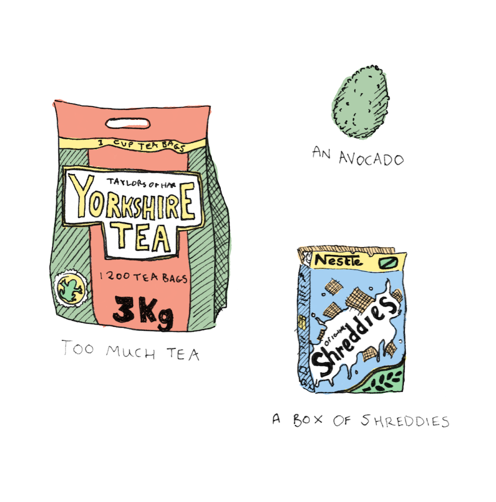 These gifts were thrust into our hand amid tears and hugs as we left the UK for our 3 month campervan trip. Obviously we had already consumed them all by the time I drew this.