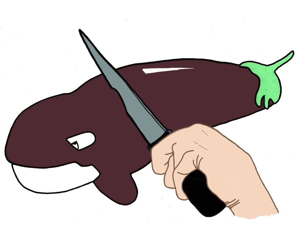 When I cut into an aubergine I feel like I'm cutting into a whale. Disclaimer: I would never cut a whale, and I can barely cut aubergines for feeling a little sad.