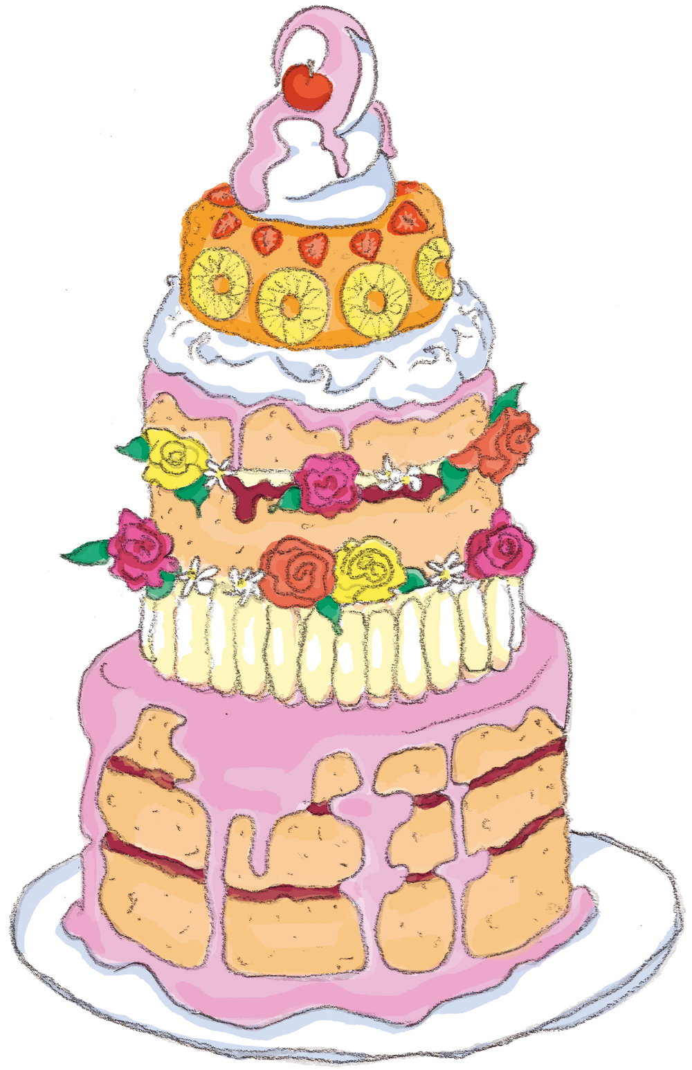 Celebratory cake for the Queen's visit to the school in the children's book I was working on back in 2016.