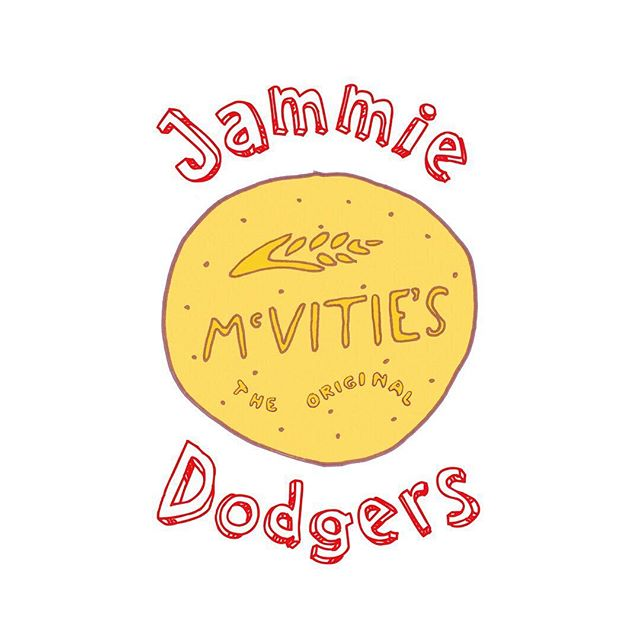 Little throwback to when I sorted out the uSwitch dodgeball team with a logo for their team shirts. Now I KNOW that this depicted biscuit is NOT a jammy dodger (the one to the right is – the official team logo), but I loved this extra one I did, especially for the team's most gregarious and loveable team member, for a bit of a lark. He only noticed when he was handed his new team tshirt. He's called Liam and you can also spot him in the allergen advice warning on the ingredients list (which was on the back of every shirt with every player's name in bold). ⠀⠀⠀⠀⠀⠀⠀⠀⠀ #Illustrated #illustrate #illustrateyourworld #illustrationdaily #illustrationnow #illustrationwork #illustration #drawing #drawings #drawingoftheday #drawsomething #artjournal #creativeprocess #sketchbook #sketch #doodle #doodledrawing #penart #sketchpad #sketchclub #sketchjournal #sketchmarkersclub  #illustratorsoninstagram #wip #illustrationoftheday  #womenofillustration #hobbbins #dodgeballteam #biscuitlove #handdrawnlogo