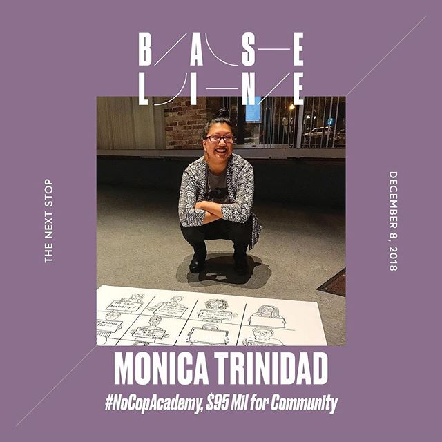"Featured Artist: Monica Trinidad is a queer Mexican artist & organizer born and raised on the southeast side of Chicago. She is the co-founder of For the People Artists Collective, a radical squad of Black artists & artists of color in Chicago. Monica creates artwork to cultivate the practice of hope and to spark imagination in both organizers immersed in the day-to-day spadework of movement building and in every resident in Chicago. Her work is currently in permanent collection at DuSable Museum of African American History, and has been shown at the National Museum of Mexican Art, Hairpin Arts Center, and East Meets World Gallery in Cambridge, MA. You can listen to her every week on the Lit Review podcast, a literary podcast for the movement, with her co-host Page May.  This piece is an enlarged print of a coloring page from For the People Artists Collective's 3rd radical coloring book, ""Color Me Healing."" The piece offers an opportunity for community members to envision how they would spend $95 million dollars in their neighborhoods instead of Rahm's proposed $95 million dollars for a fancy new cop academy.  Design by @koreanisms"