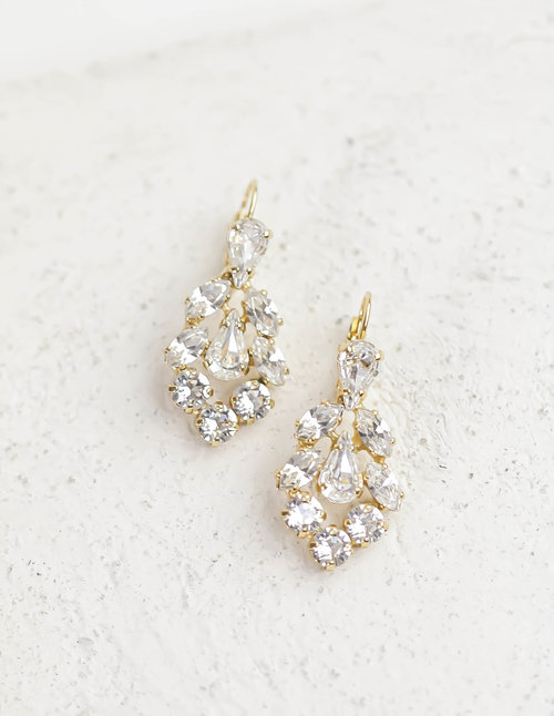Swarovski crystal small gold chandelier earrings atzi bridal swarovski crystal small gold chandelier earrings aloadofball Image collections