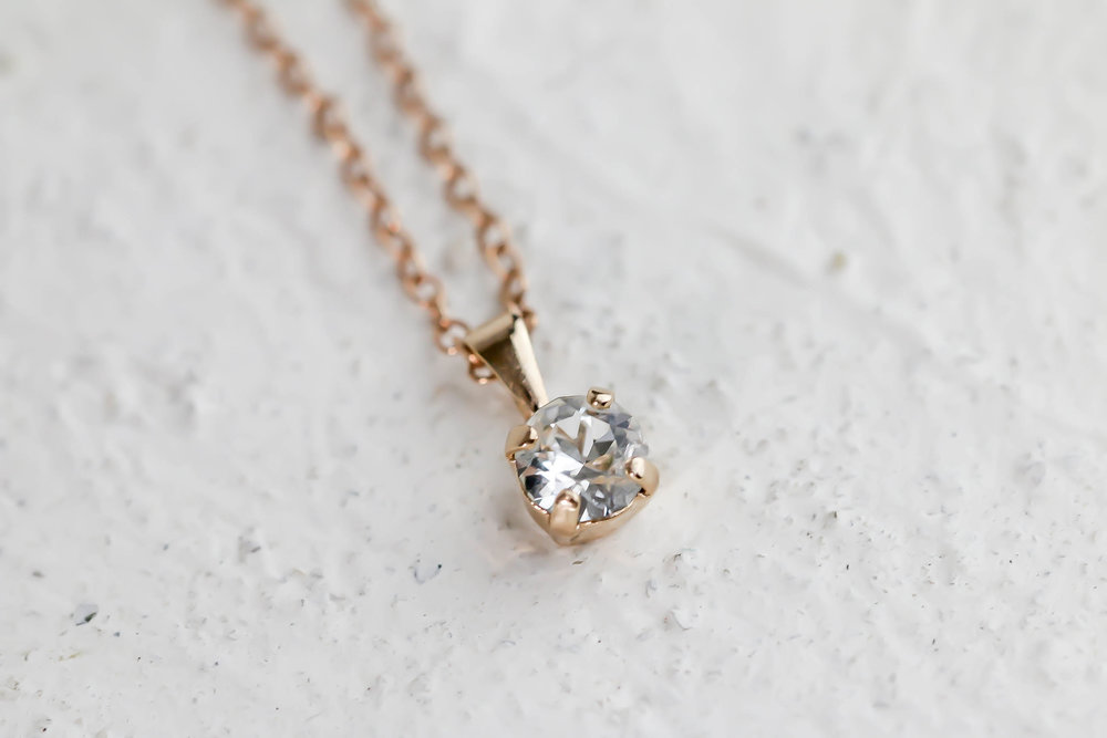 Swarovski Crystal Small Pendant Necklace in Rose Gold — Atzi Bridal