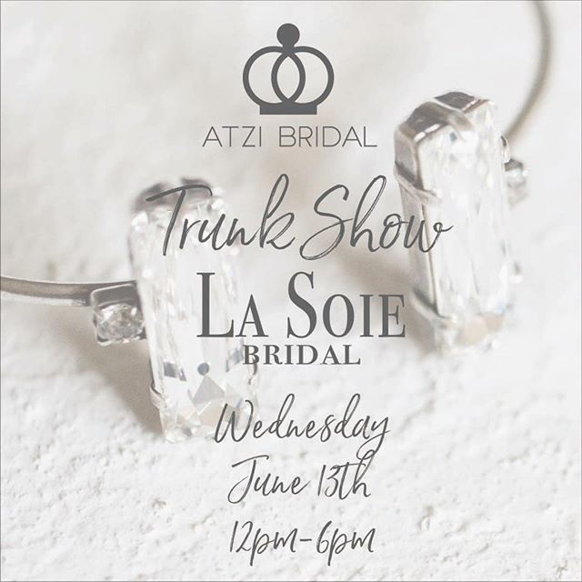 This Wednesday #AtziBridal will be at @lasoiebridal in Walnut Creek from 12-6pm!! Come check out and try on all the things 💎😍🍾