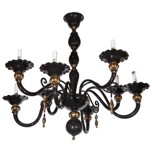 Murano black gold venetian chandelier fabio ltd murano black gold venetian chandelier aloadofball Gallery