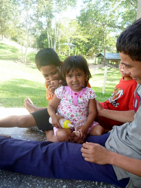 "Perla getting lots of attention from her new ""brothers"" at Amigos shortly after arriving in 2012"