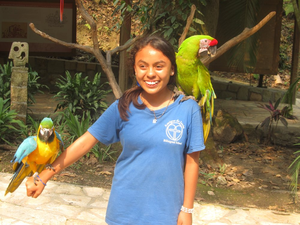 Adeline holding macaws (the national bird of Honduras) on a field trip to Copan Ruinas, Honduras, in April.