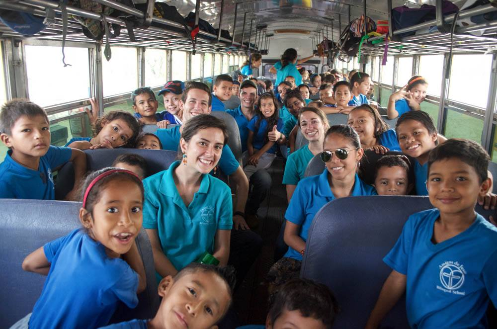 Accompanying our students on a field trip last year. (Profesora Viviana is in sunglasses)