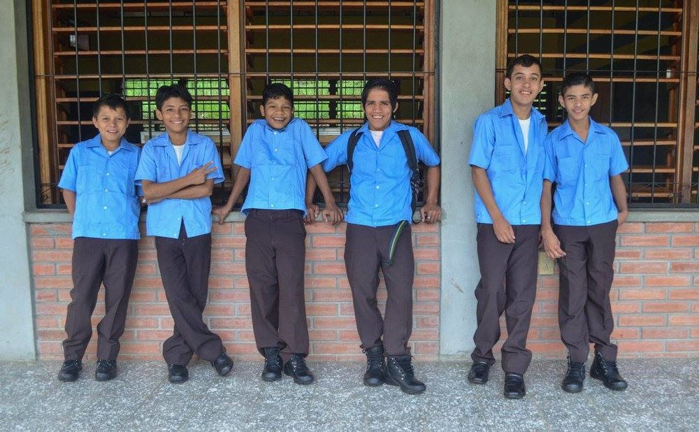 Felipe (third from left) and friends on their first day of 6th grade last September.