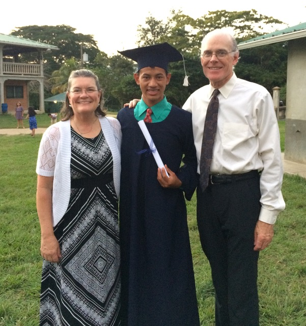 Ann, her husband and Juan* who just graudauted high school this November and is now college bound!